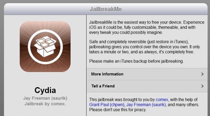 JailbreakMe 3.0 i tres tweaks de Cydia